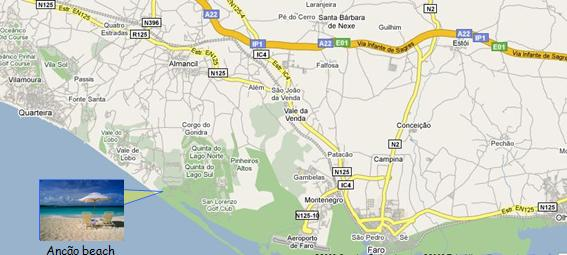 Algarve Ancao Beach Map