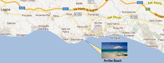 Algarve Arrifes Beach Map