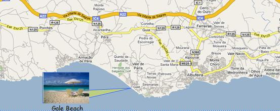Algarve Gale Beach Map