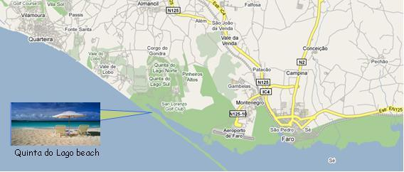 Quinta do Lago Beach Map