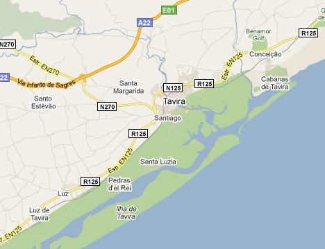 Tavira Map Located In Eastern Algarve Near The Sea
