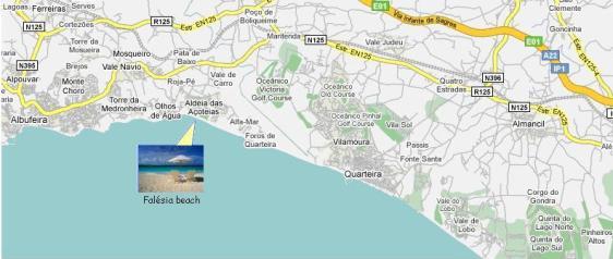 Algarve Falesia Beach Map