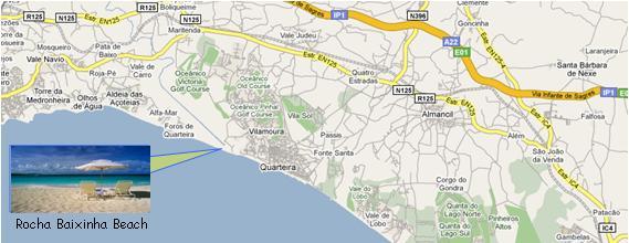 Rocha Baixinha Beach Map